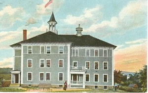 Painting of old school building with 3 stories and a steeple