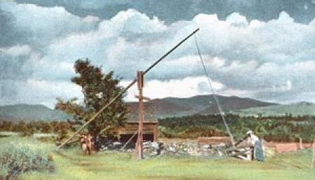Early Building Construction with wooden crane